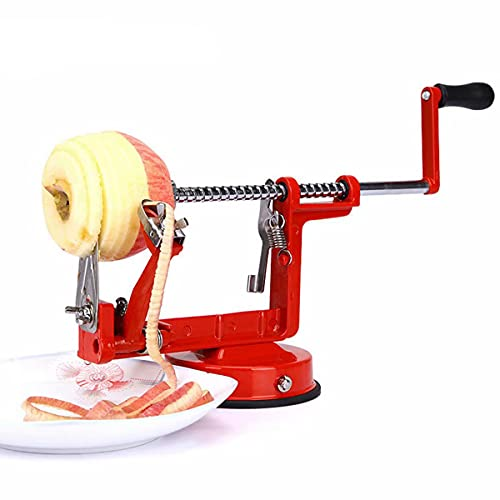 QNMM 3 In 1 Apple/Potato Peeler Stainless Steel Pear Fruit Peel Corer Slicing Kitchen Cutter Machine Peeled Tool with Countertop Suction Cup, Vegetable Peel Machine for Kitchen