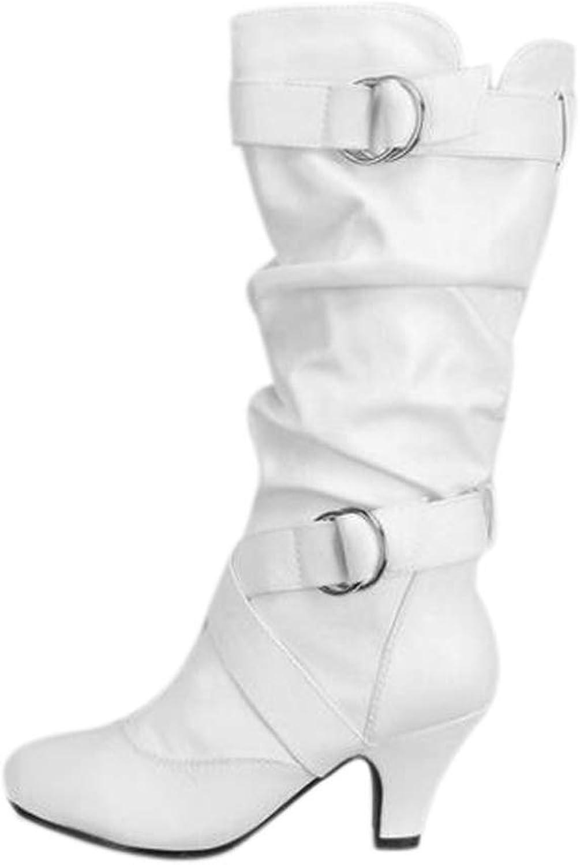 York Zhu Women Boots,Large Size Belt Buckle High Heel Boots Autumn Winter Boots