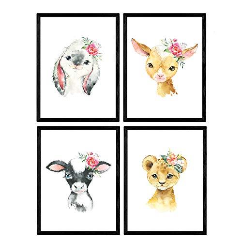 Pack de Cuatro láminas con Ilustraciones de Animales. Posters con imágenes Infantiles de Animales. Leon Alpaca Conejo y Vaca. Tamaño A4 sin Marco
