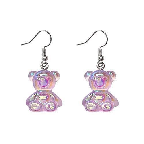 Dulce Lindo Colorido Tridimensional Fenware Oso Rollo De Oreja Pendientes Rojos Pendientes O Oreja Clips (Color : Pink Ear Hook)