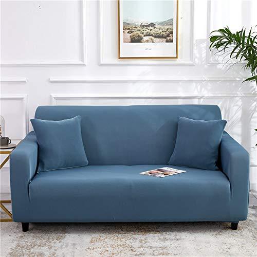 WXQY Funda de sofá elástica de Color sólido, Funda de sofá Antideslizante con Todo Incluido, protección para Mascotas, Funda de sofá de Esquina en Forma de L, A28, 3 plazas