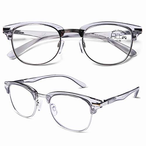 DOOViC Occhiali da Lettura Rotondi Grigio Anti Luce Blu Mezza Montatura Presbiopia Occhiali da Computer per Uomo/Donna +3.0