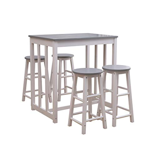 CFDZ Modern Dining Table and 4 Stools Set for Breakfast Kitchen Dining Room,Solid Pine-Grey+White,86x60x90cm/30x30x60cm