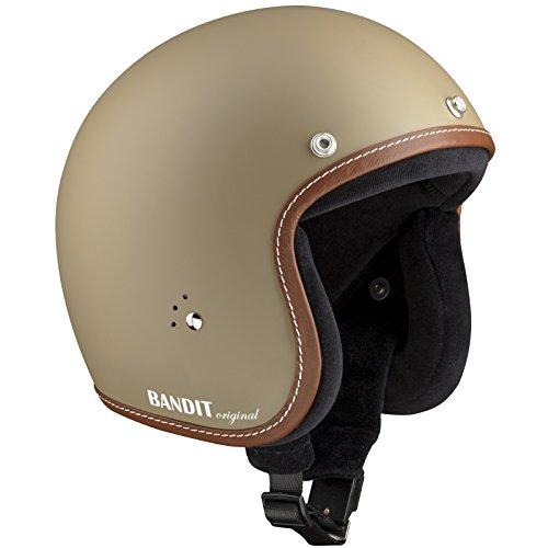 Casco de moto Bandit tipo jet, con forro interior de algodón, correa para gafas y parasol