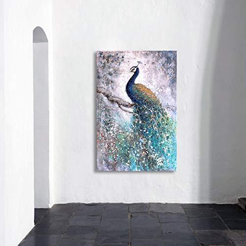 Muurdecoratie Olieverfschilderij Canvas Dier Pauw Schilderij Woonkamer Woondecoratie 16X24
