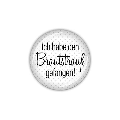 lijelove® Button 25mm Ø Bird Love Ich Habe den Brautstrauß gefangen! (Art. 04-021U)