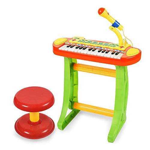 BAOLI 31 Keys Children Musical Toys Electronic Organ Keyboard Piano with Karaoke Recording Transmit and Stool