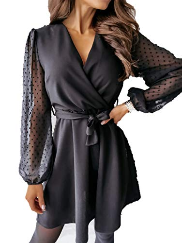 SLYZ European and American Ladies Spring and Autumn Lace Long-Sleeved Belt V-Neck Sexy Stitching Dress Women Black