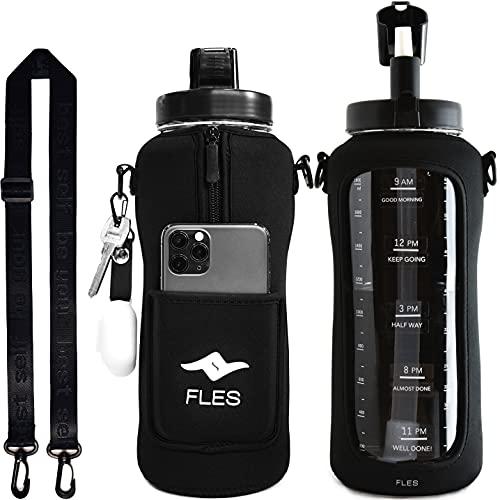 FLES (Black) 2リットル ストロー付きウォーターボトル タイムマーカーステッカー . BPAフリー ボトルと電話ホルダースリーブ ストラップ付き