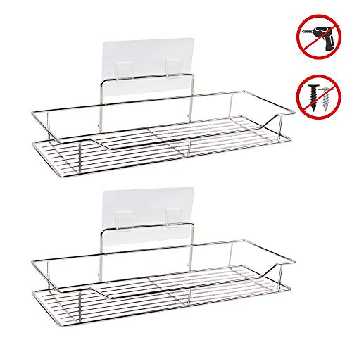 WYJP Adhesive Bathroom Shelf Organizer Shower Caddy Kitchen Storage Rack, Wall Mounted, No Drilling, SUS304 Stainless Steel-2 PACK
