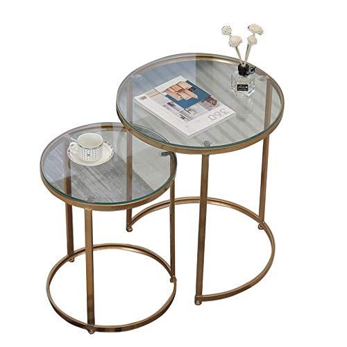 FCXBQ Glasschachteltische, runder Couchtisch Einfacher Beistelltisch |D & Eacute; COR Couch Bett für Wohnzimmer zu Hause