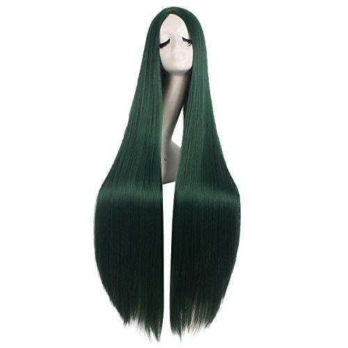 MapofBeauty 40 Inch/100cm Fashion Straight Long Costume Anime Wig (Pine Green)