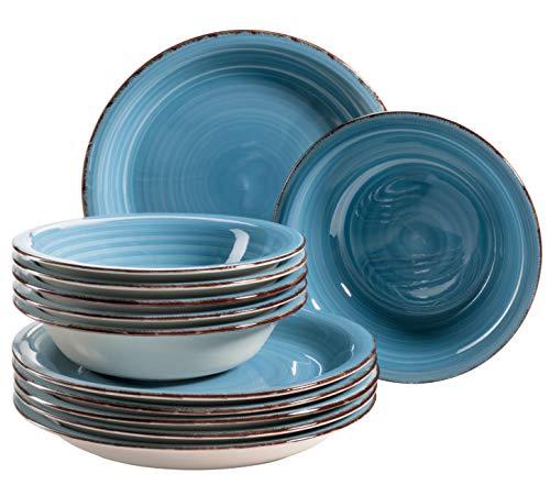 MÄSER 931602 Bel Tempo II Teller-Set für 6 Personen im modernen Vintage Look, 12-teiliges Tafelservice, handbemalt, Dunkelblau, Steingut, Blau