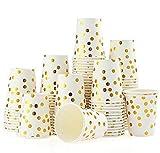 esonmus 100 Pappbecher Gold Dot 250ml Kaffeebecher to Go Trinkbecher Einweg Papierbecher Für Party Kaffee, Tee, Schokolade, Heißen Und...