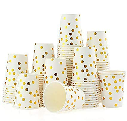 esonmus 100PCS Vaso de Papel Desechable, Disposable Cups 9 oz, Golden Polka Dot Disposable Beverage Cups, Apto para Bebidas...