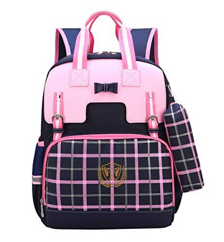 Happy Cherry Kinderrucksack Schultasche Mädchen Bowknot Karierte Grundschule Schulranzen Wasserabweisend Backpack mit Brustschnalle