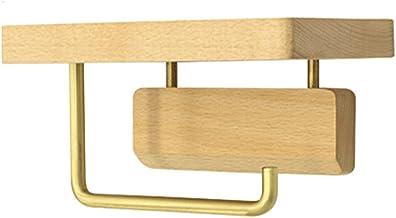 Yemyor Houten toiletrolhouder, rolweefselhouder, badkameraccessoires muurbevestiging plank (18 * 10 * 10cm, beuken)