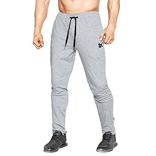 BROKIG Men's Zip Jogging Bottoms Gym Joggers Trousers with Pockets (Medium, Heather Grey)