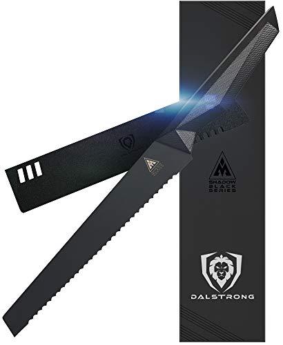 DALSTRONG Serrated Bread Knife - 9' - Shadow Black Series - Black Titanium Nitride Coated - High Carbon - 7CR17MOV-X Vacuum Treated Steel- Sheath - NSF Certified