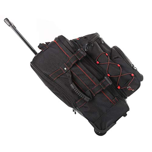 20 inch grote capaciteit schoudertas rugzak bagage koffer wielen trolley tas met stuur voor kamperen op reis Zwart