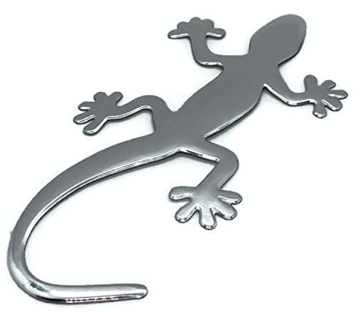 PVC Auto Aufkleber Chrom Gecko Kunststoff Eidechse Emblem Tuning Silber neu