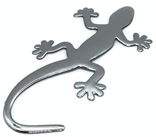 PVC Auto Aufkleber Chrom Gecko Kunststoff Eidechse Emblem Tuning Silber