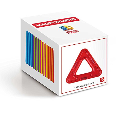 Magformers Triangle 12 Pieces Rainbow Colors, Educational Magnetic Geometric Shapes Tiles Building STEM Toy Set Ages 3+
