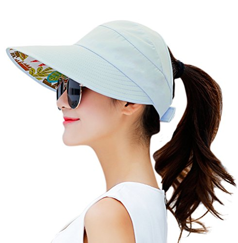 HINDAWI Sun Hats for Women Wide Brim UV Protection Visor Floppy Sports Packable Sun Hat Caps Sky Blue