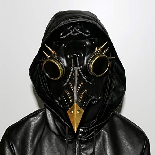 HIZZEEN Máscara Medieval Terror Sacerdote Doctor de la Plaga Cabeza de Ave con la Nariz Larga Pico gótica de Steampunk máscara de Cuero de Cosplay de Halloween Traje de la Navidad Puntales