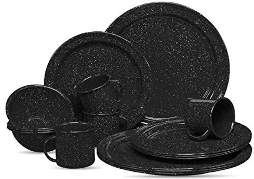 Vajilla Clásica de Peltre 16 Pzas Negro Rustik