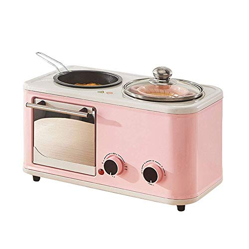 NIHAOA Grill Mikrowelle Multifunktionale Toaster, 3-in-1 Multifunktions-Frühstück Hub (Toaster, Durchmesser Grillpfanne, Thick Suppentopf), Rosa