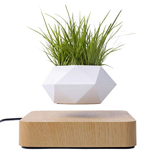 Levitating Rotating Planter Pot - Air Plants - Succulents - Cacti - Small Flowers - Elevate Zen - Plug & Play - Light Brown - 6in X 6in