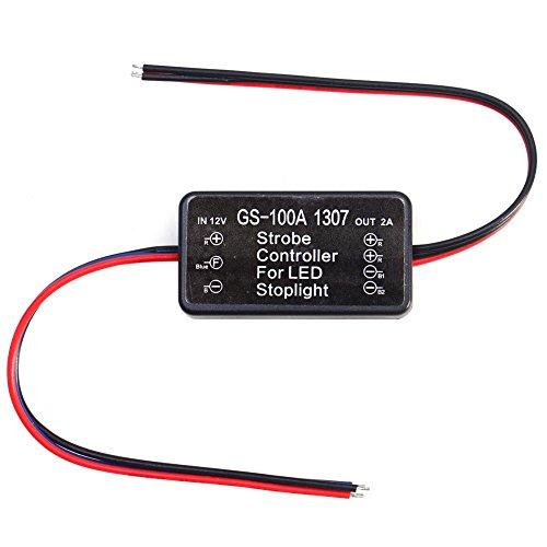 EVGATSAUTO 12V Strobe Controller, Fahrzeugauto GS-100A 1307 LED Bremsstopplicht Strobe Flash Modul Controller AP