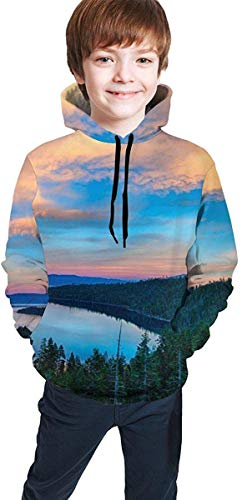 Sudadera Juvenil con Capucha Teen Boys Girls 3D Print Landscape of South Lake Tahoe Pullover Hoodies Hooded Sweatshirts Tops Blouse with Pocket