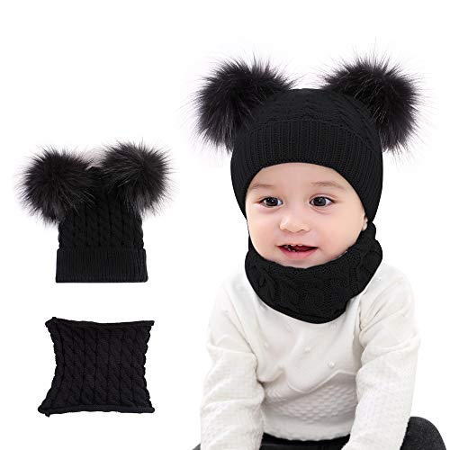 ZOCONE kindersjaal muts sjaal set 2-delig babymuts wintermuts wintermuts pasgeborenen winter geschikt voor kinderen en pasgeborenen van 1 tot 3 jaar