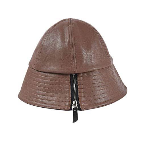 GLGSHOULIAN Chapeau De Pêcheur Femme,Tempérament Sauvage Artificiel Coffce Cuir Zipper Décoration Bucket Cap Solid Color Lady Leisure Adjsutable Pliable Hip Hop Dome Fisherman Hat