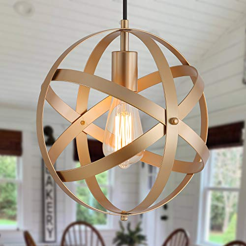 Q&S Industrial Metal Pendant Light ,Gold Spherical Cage...