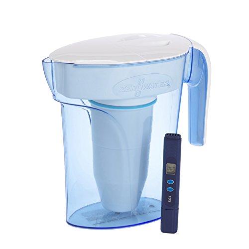 ZeroWater Jarra filtradora de agua de 1,7 litros, Medidor de Calidad de Agua Gratis, Libre de BPA y certificada para Reducir el Plomo y Otros Metales Pesados, Cartucho Filtro Incluido