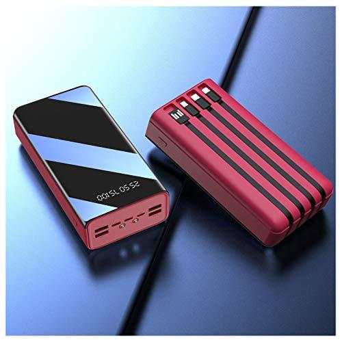 Power Bank 50000 Mah, Cargador Portátil De 7 Salidas, Batería Externa De Alta Capacidad con Micro Y USB-C Y Relámpago Y USB De 4 Entradas, con Pantalla LED Y Linterna,Rojo