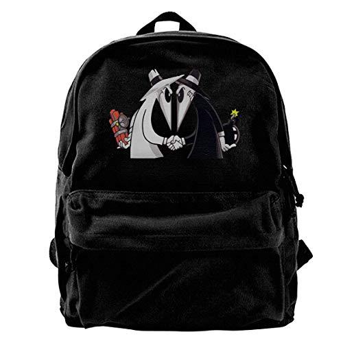 huatongxin Spy Vs Spy School Bacpack Lightweight Black Canvas Bag Backpack Girls Unisex Fashionable Canvas Backpacks