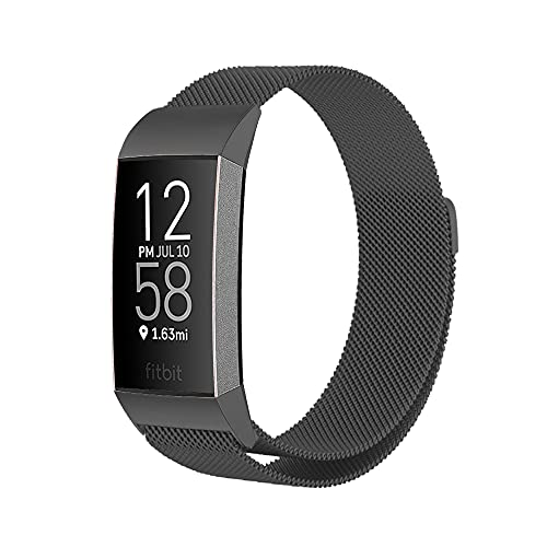 PaceBid Compatible con Fitbit Charge 3/ 4/ 3 SE Correa, Correa de Acero Inoxidable, Correa de Malla Ajustable, Magnético Pulsera para Mujeres y Hombres -Black 155-230mm