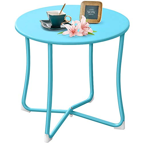 """Metal Patio Side Table 18"""" x 18"""" Heavy Duty Weather Resistant Anti-Rust Outdoor End Table Small Steel Round Coffee Table Porch Table Snack Table for Balcony Garden Yard Lawn, Light Blue"""