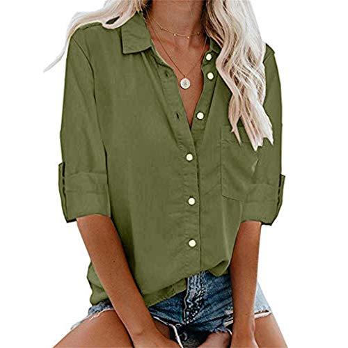 MNLOS Camisas Abotonadas para Mujer Blusa de Bolsillo Mujer Camisa Mangas Cortas Ocio Chaleco Mujer…