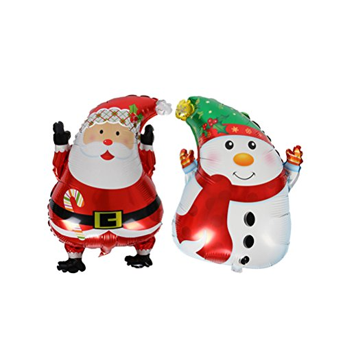 Palloncini foil natale Tinksky Palloncino a forma Babbo Natale e Pupazzo di Neve per decorazione 2PCS
