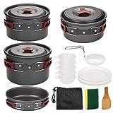 nJiaMe Estufa de Camping Juego de Utensilios de Picnic al Aire Libre Conjunto de Cook Set de Picnic portátil Ultraligero Doblar Utensilios de Cocina Pan 5-6 Personas para cocinar Rojo