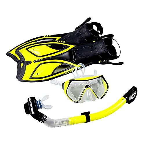 Gohhey Schnorchelset mit Brille Schnorchelund und Verstellbare Flossen wasserdichte Anti-Fog Taucherbrille Junior Tauchset, hochwertiges Silikon, perfekte Passform, Größe 34~38