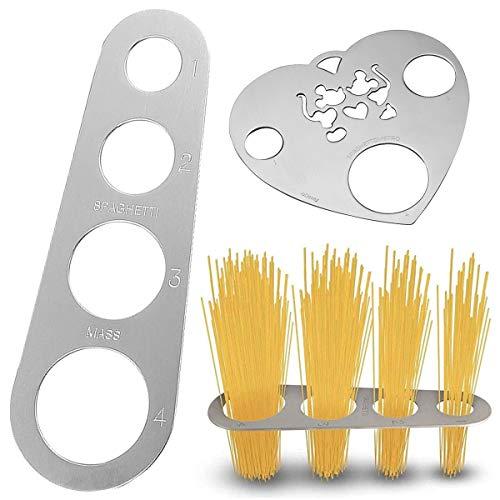 Dosatore per Spaghetti,RoadLoo 3 Pezzi Misuratore per Spaghetti Acciaio Inox Spaghetti Noodle Misuratore Porzione Control Novità Design Kitchen Craft Spaghetti Misura Misurare la Pasta Lunga Argento