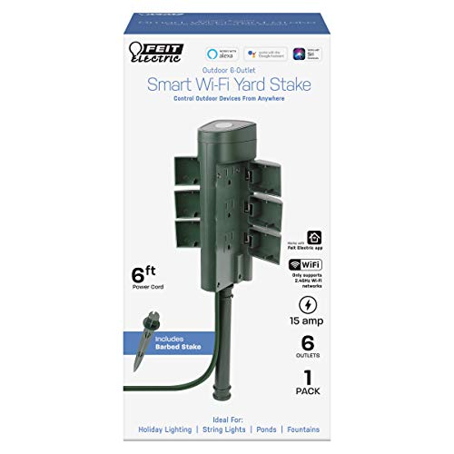 Feit Electric Plug/WiFi/STK/WP Work with Alexa and Google Home, Feit App, No hub Required, Remote Control from Anywhere 15 Amp Smart Outlets, Outdoor Yard, Green