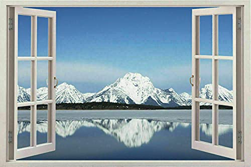 Pegatinas de pared Window 3d snow White Scape Instant View in Snow Wall Sticker Decal Graphic