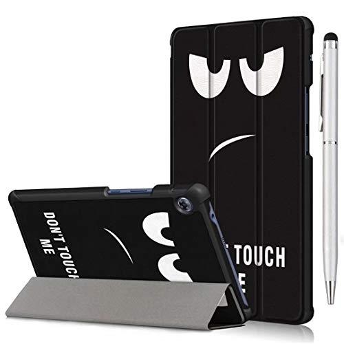 Ash-case Étui pour Huawei MatePad T8 (8 Zoll) 2020 Tablet, Smart Cover Housse Etui Cuir Coque avec Support pour Huawei MatePad T8 8 Zoll inches,Soot Eye+1x Stylo Tactile argenté